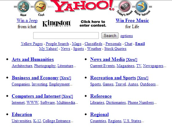 page d'accueil Yahoo en 1998