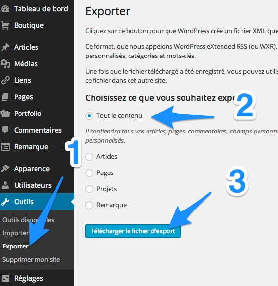 export wordpress