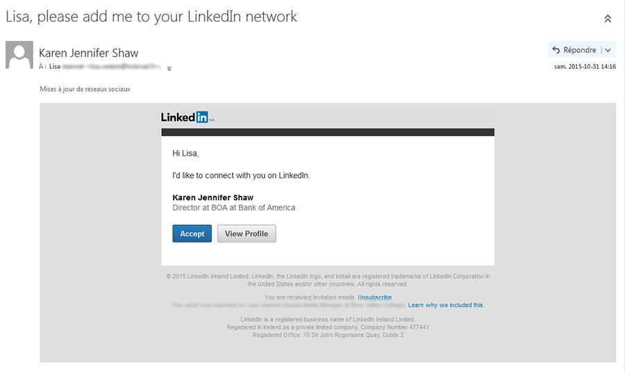 Invitation Linkedin en Anglais (mon profil étant en anglais)