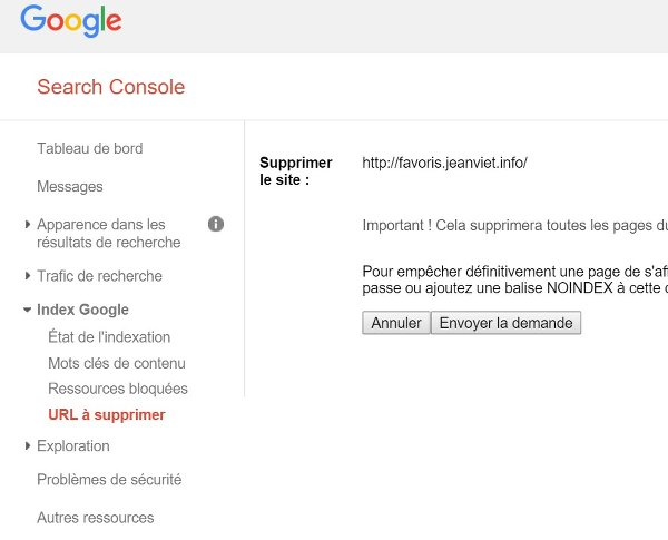 search-console-supprimer