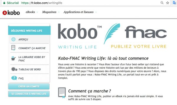 Accueil Kobo Writing Life